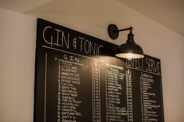 extensive gin and tonic menu at the heathmount inverness